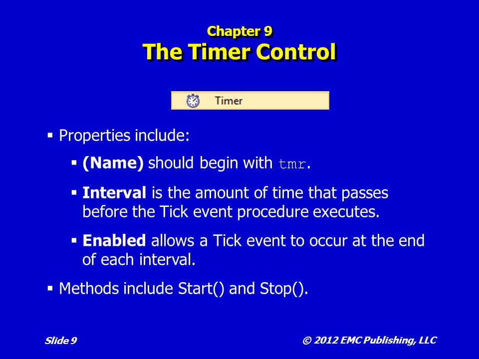 Chapter 9 The Timer Control
