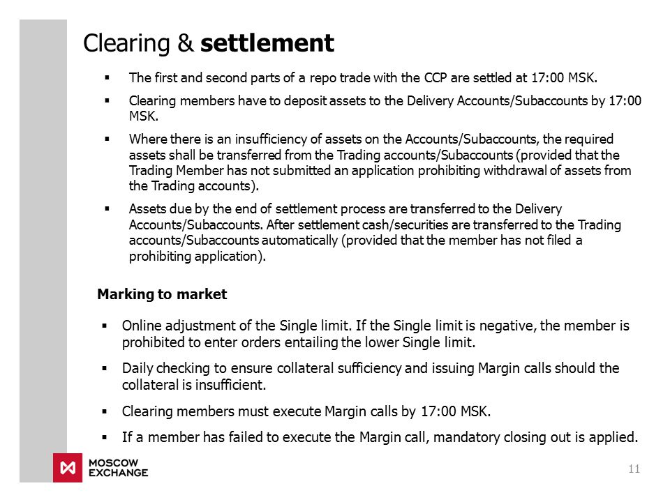 Clearing & settlement Marking to market