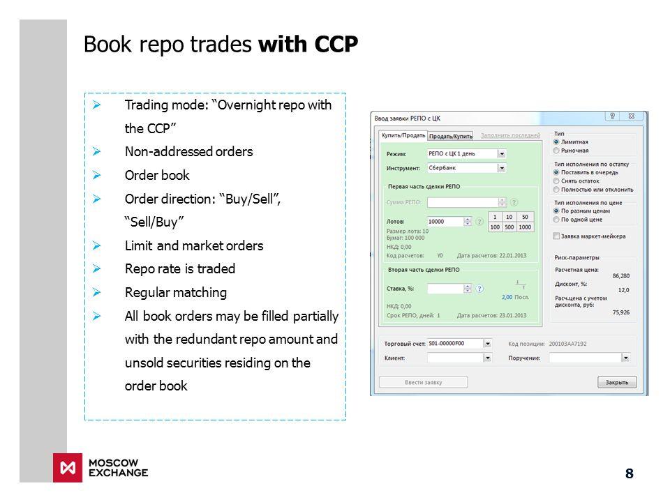 Book repo trades with CCP