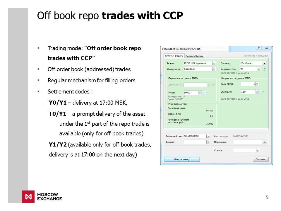 Off book repo trades with CCP