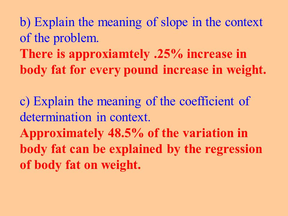 b) Explain the meaning of slope in the context of the problem.