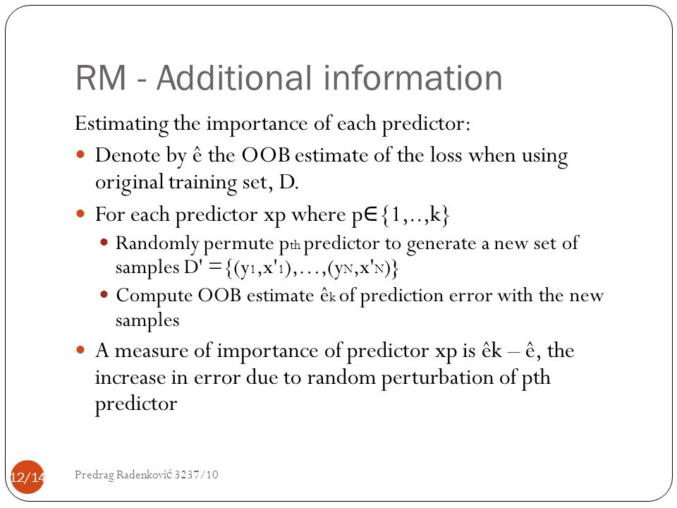 RM - Additional information