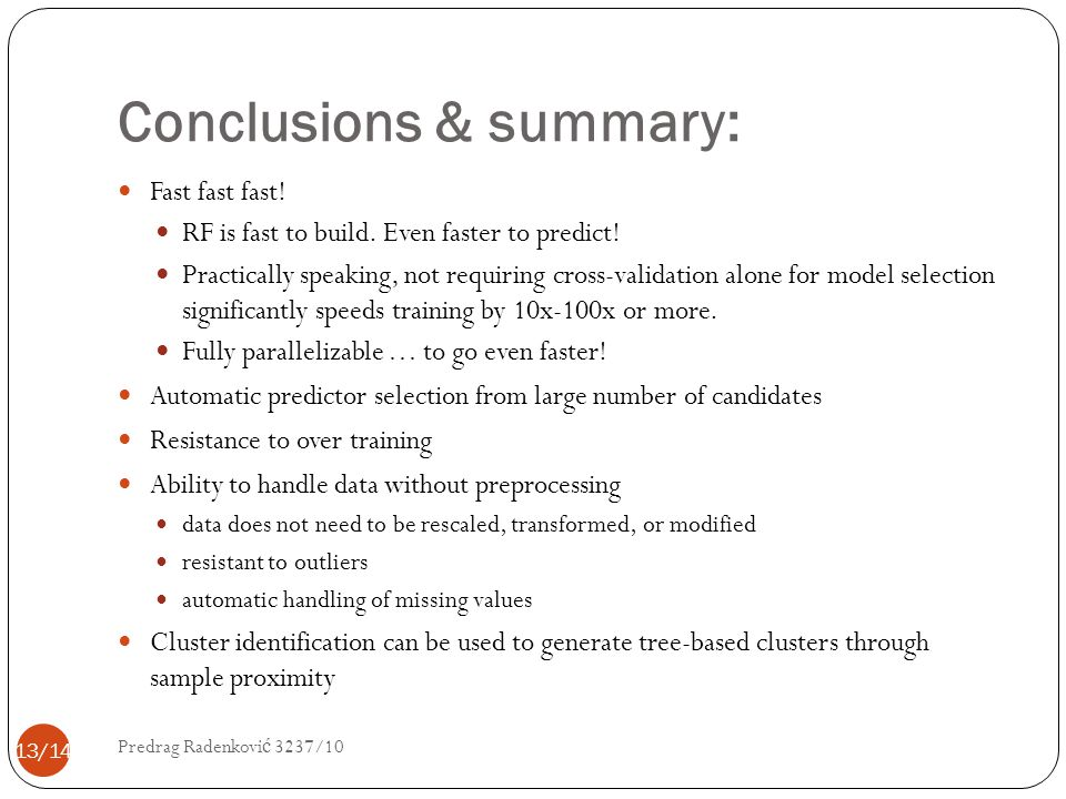 Conclusions & summary: