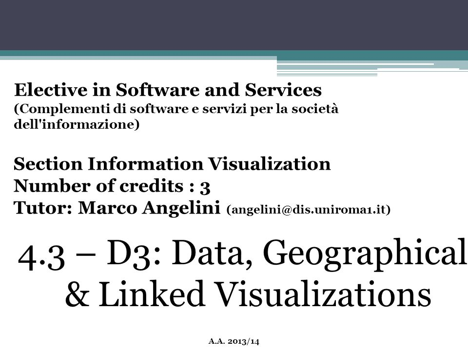 4.3 – D3: Data, Geographical & Linked Visualizations