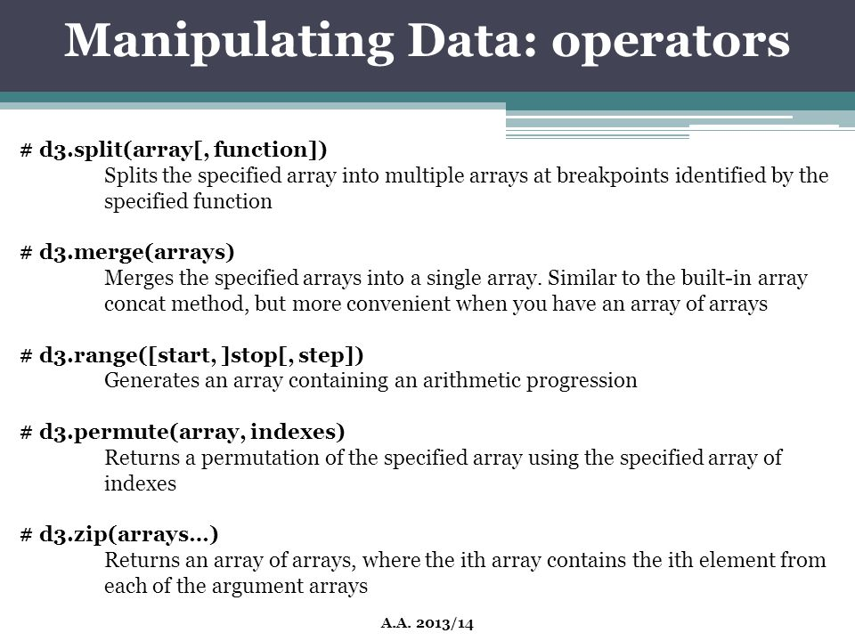 Manipulating Data: operators
