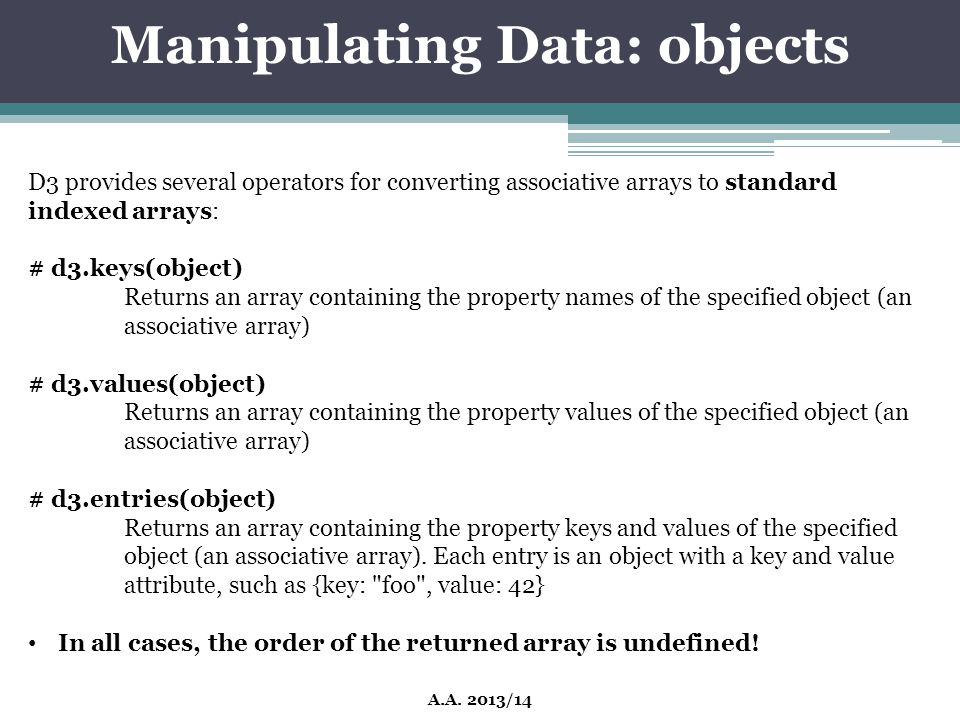 Manipulating Data: objects