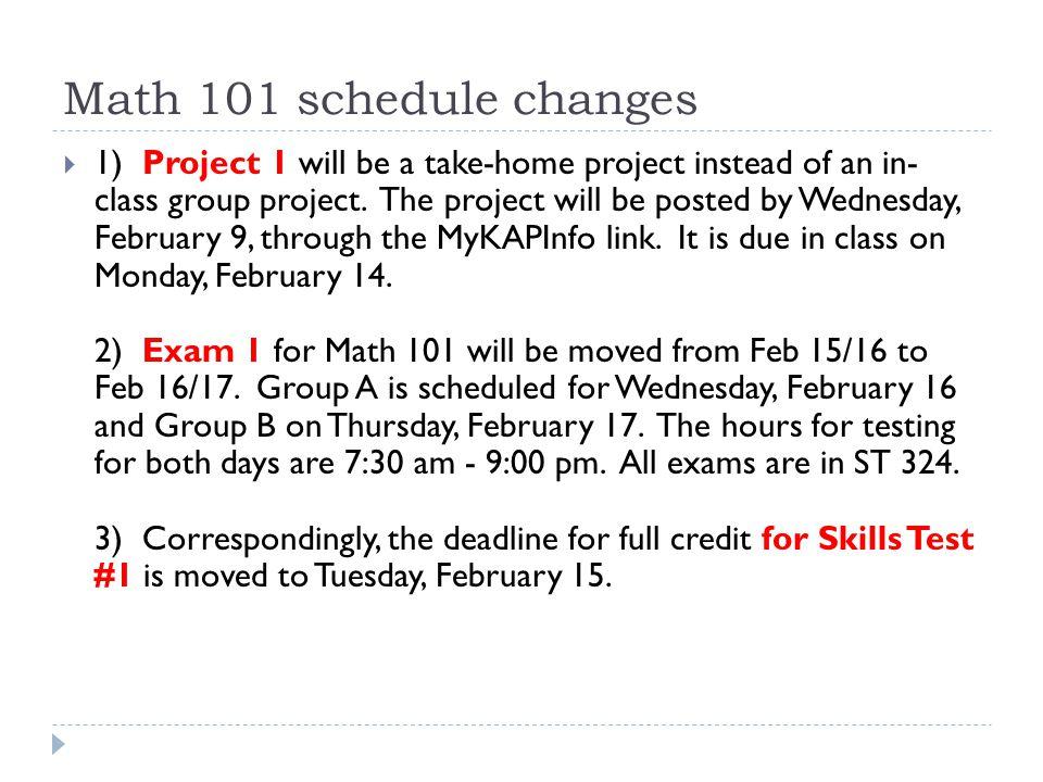 Math 101 schedule changes