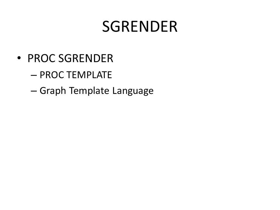 SGRENDER PROC SGRENDER PROC TEMPLATE Graph Template Language