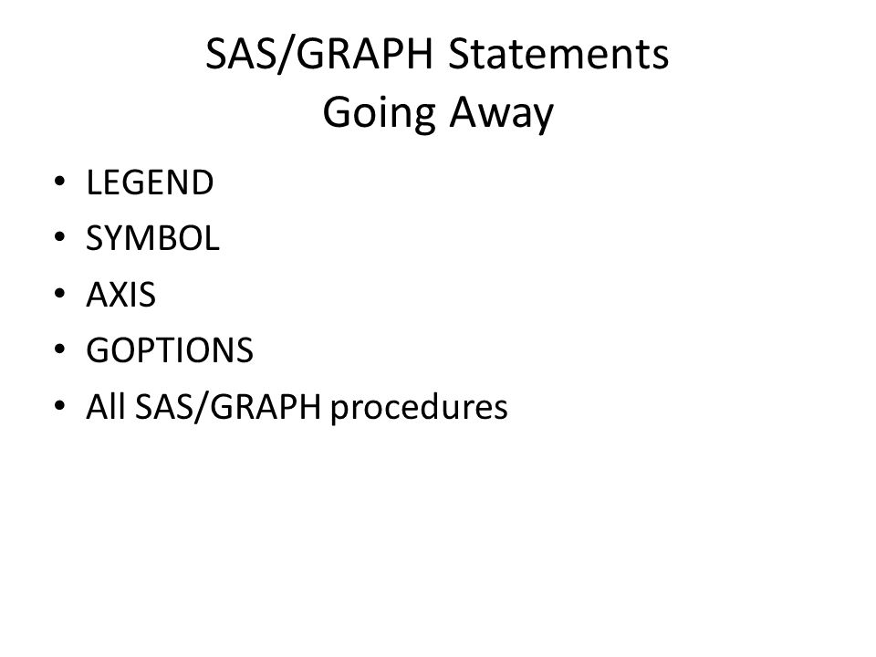SAS/GRAPH Statements Going Away