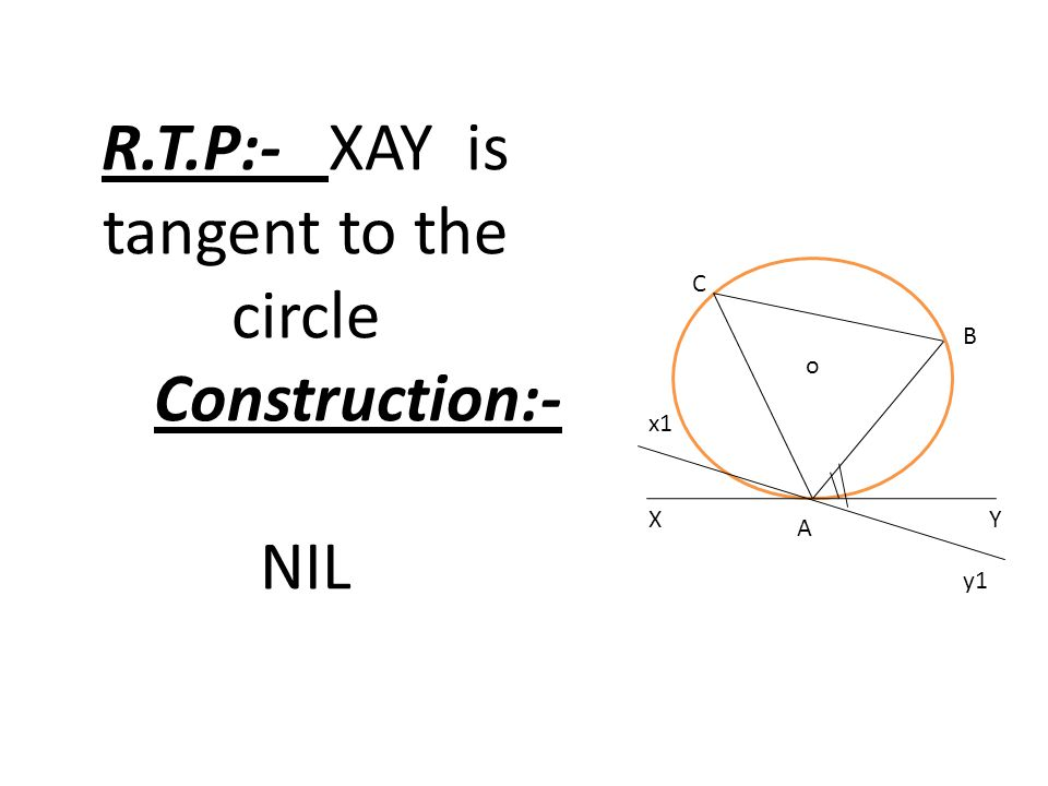 R.T.P:- XAY is tangent to the circle Construction:- NIL