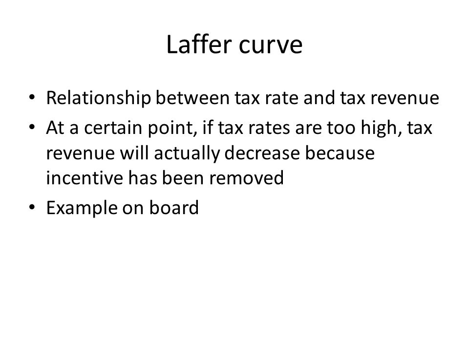 Laffer curve Relationship between tax rate and tax revenue