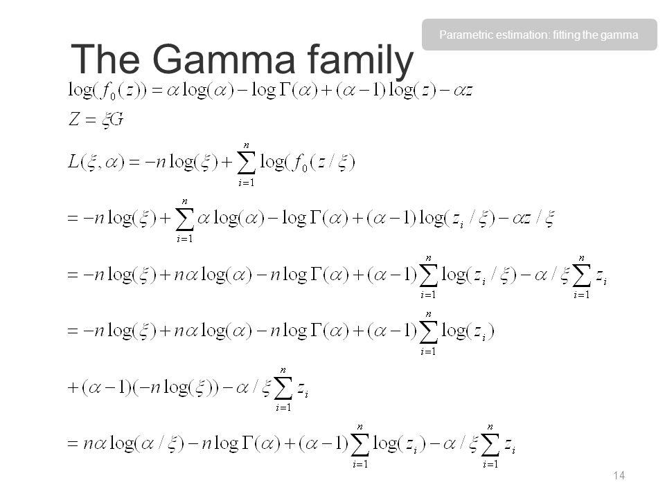 Parametric estimation: fitting the gamma