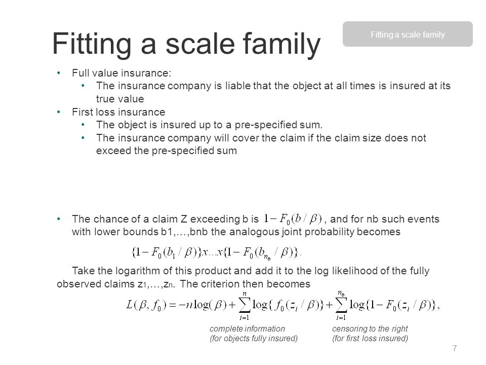 Fitting a scale family Full value insurance: