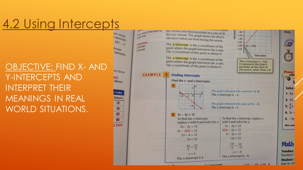4.2 Using Intercepts Objective: Find x- and y-intercepts and interpret their meanings in real world situations.