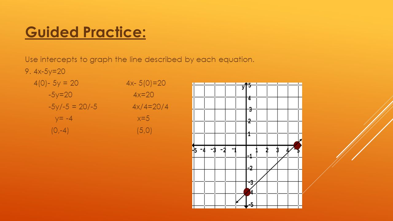 Guided Practice: Use intercepts to graph the line described by each equation. 9. 4x-5y=20. 4(0)- 5y = 20 4x- 5(0)=20.