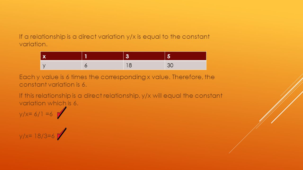 If a relationship is a direct variation y/x is equal to the constant variation. Each y value is 6 times the corresponding x value. Therefore, the constant variation is 6. If this relationship is a direct relationship, y/x will equal the constant variation which is 6. y/x= 6/1 =6 y/x= 18/3=6