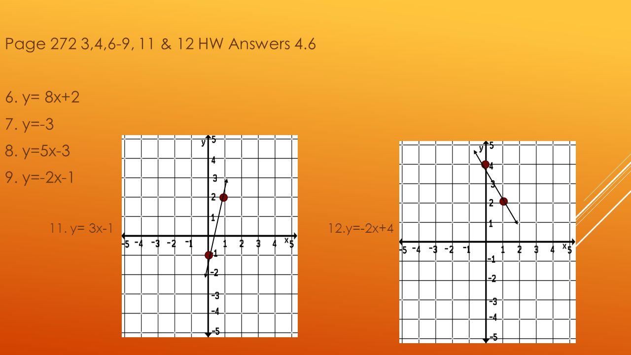 Page 272 3,4,6-9, 11 & 12 HW Answers 4.6 6. y= 8x+2 7. y=-3 8. y=5x-3