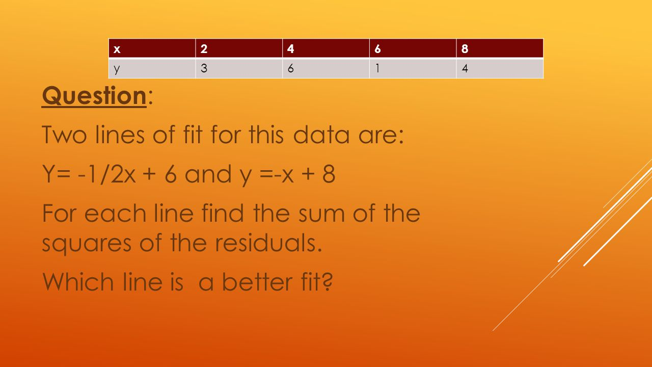Question: Two lines of fit for this data are: Y= -1/2x + 6 and y =-x + 8 For each line find the sum of the squares of the residuals. Which line is a better fit