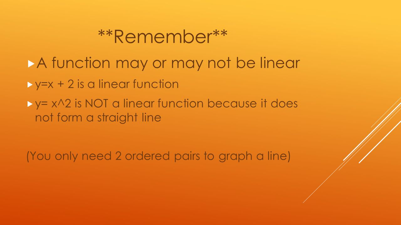 **Remember** A function may or may not be linear
