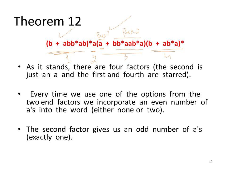 Theorem 12 (b + abb*ab)*a(a + bb*aab*a)(b + ab*a)*