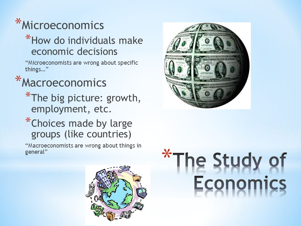 The Study of Economics Microeconomics Macroeconomics