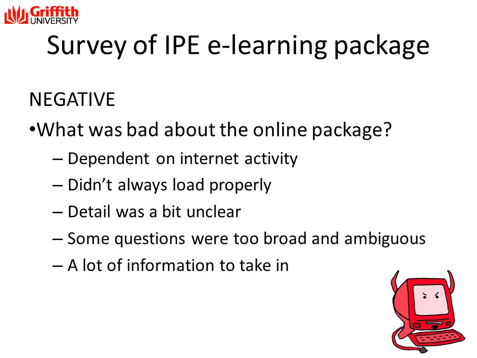Survey of IPE e-learning package