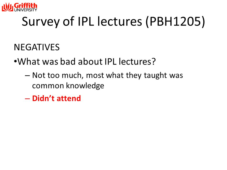 Survey of IPL lectures (PBH1205)