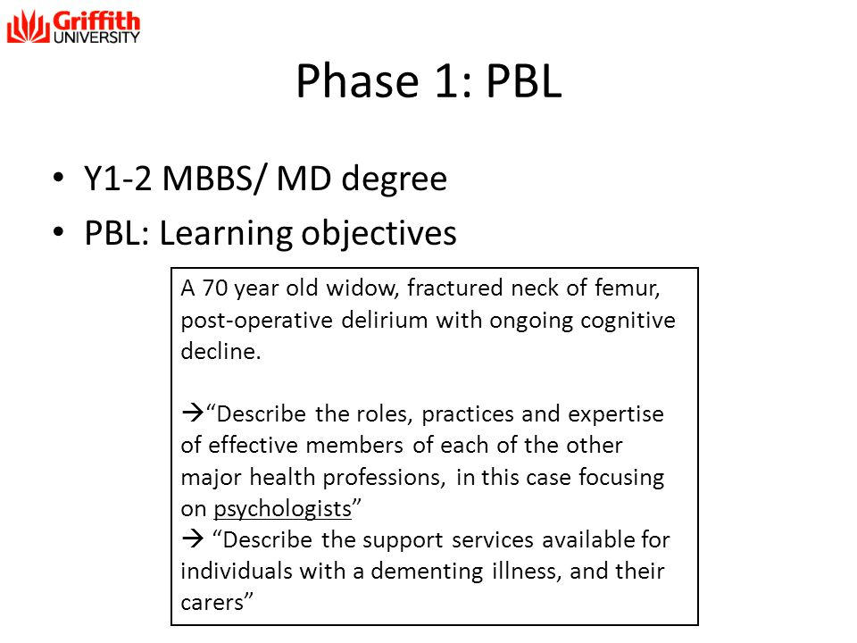 Phase 1: PBL Y1-2 MBBS/ MD degree PBL: Learning objectives