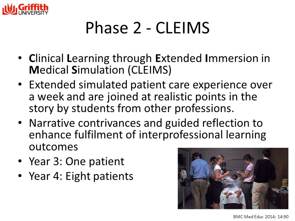 Phase 2 - CLEIMS Clinical Learning through Extended Immersion in Medical Simulation (CLEIMS)