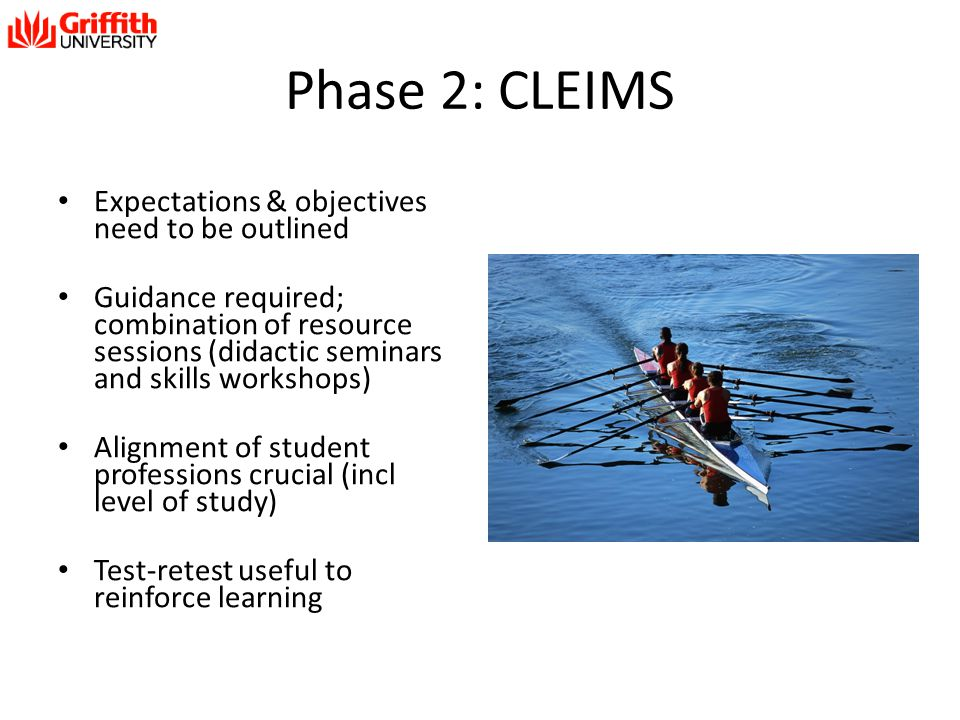 Phase 2: CLEIMS Expectations & objectives need to be outlined
