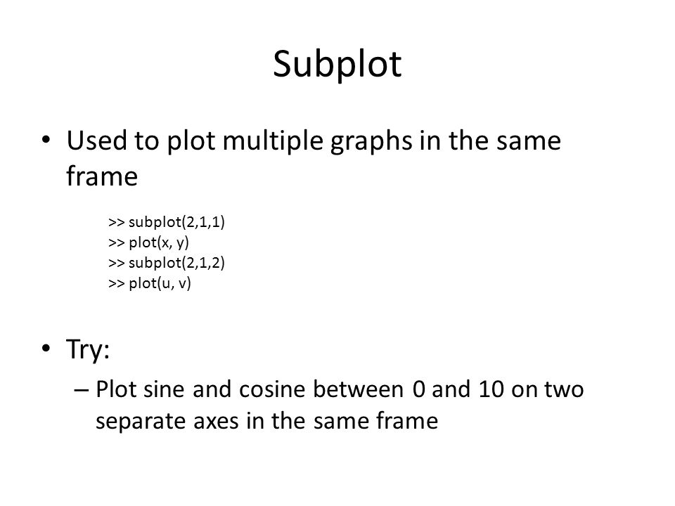 Subplot Used to plot multiple graphs in the same frame Try: