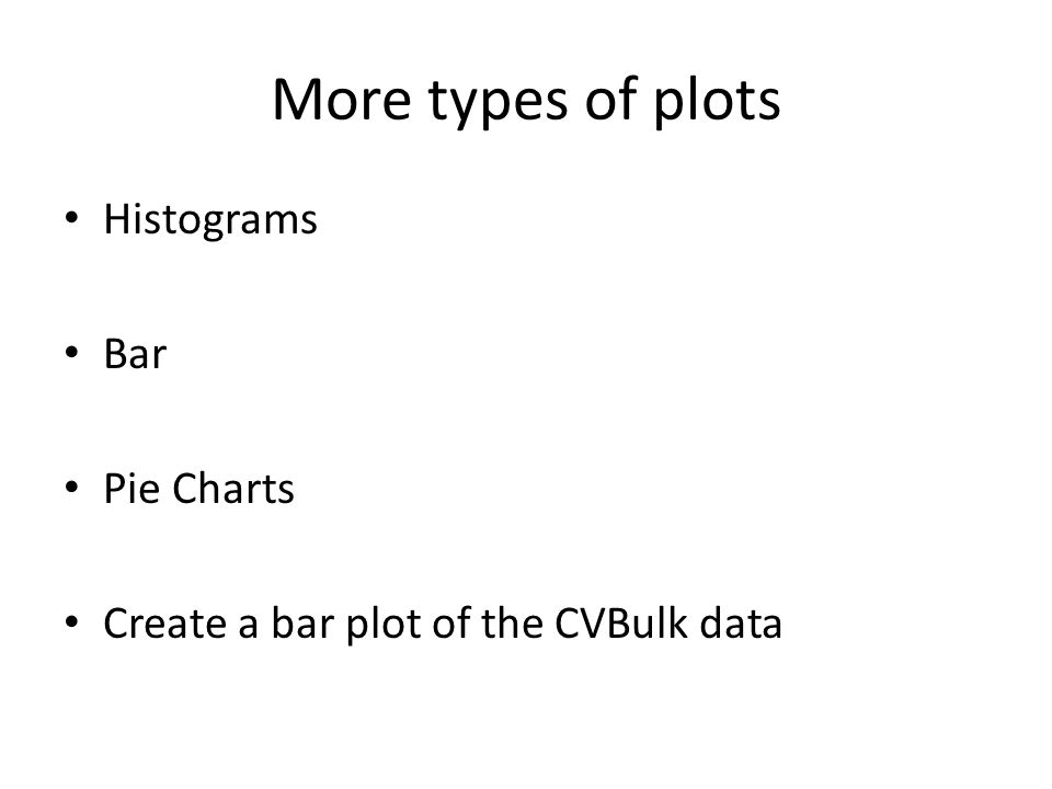 More types of plots Histograms Bar Pie Charts