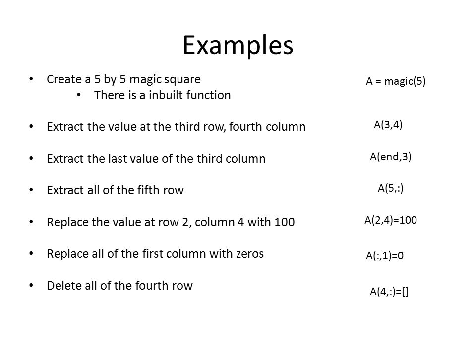 Examples Create a 5 by 5 magic square There is a inbuilt function