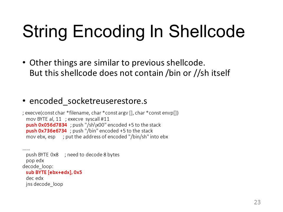 String Encoding In Shellcode