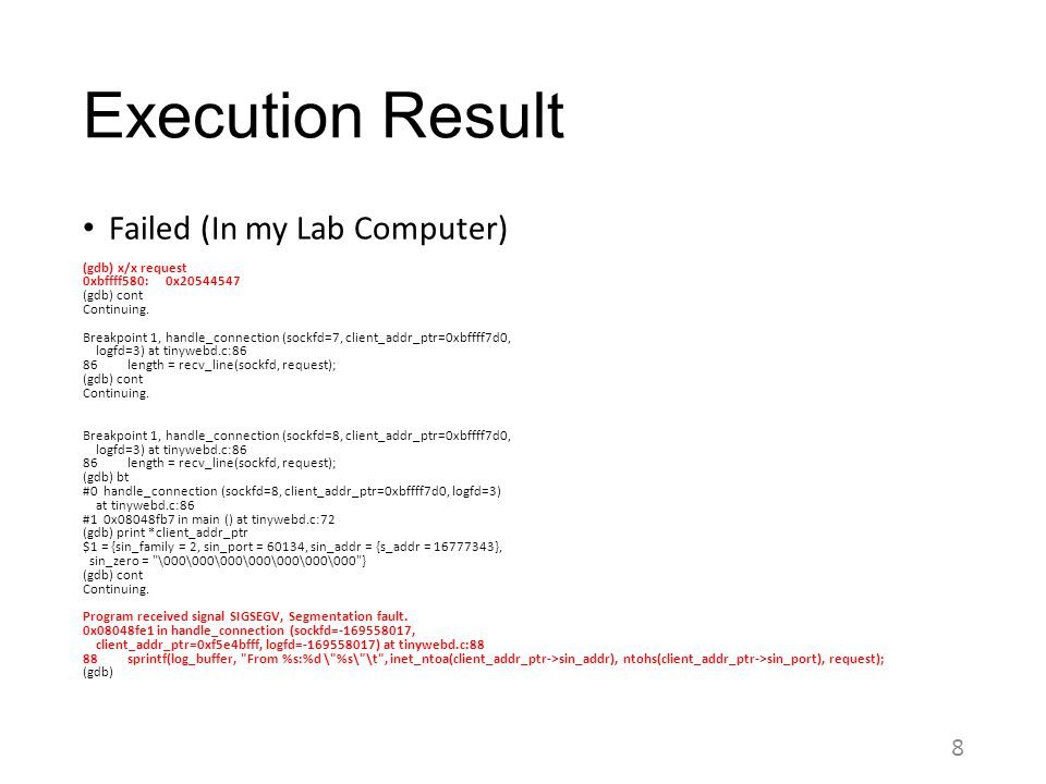 Execution Result Failed (In my Lab Computer)