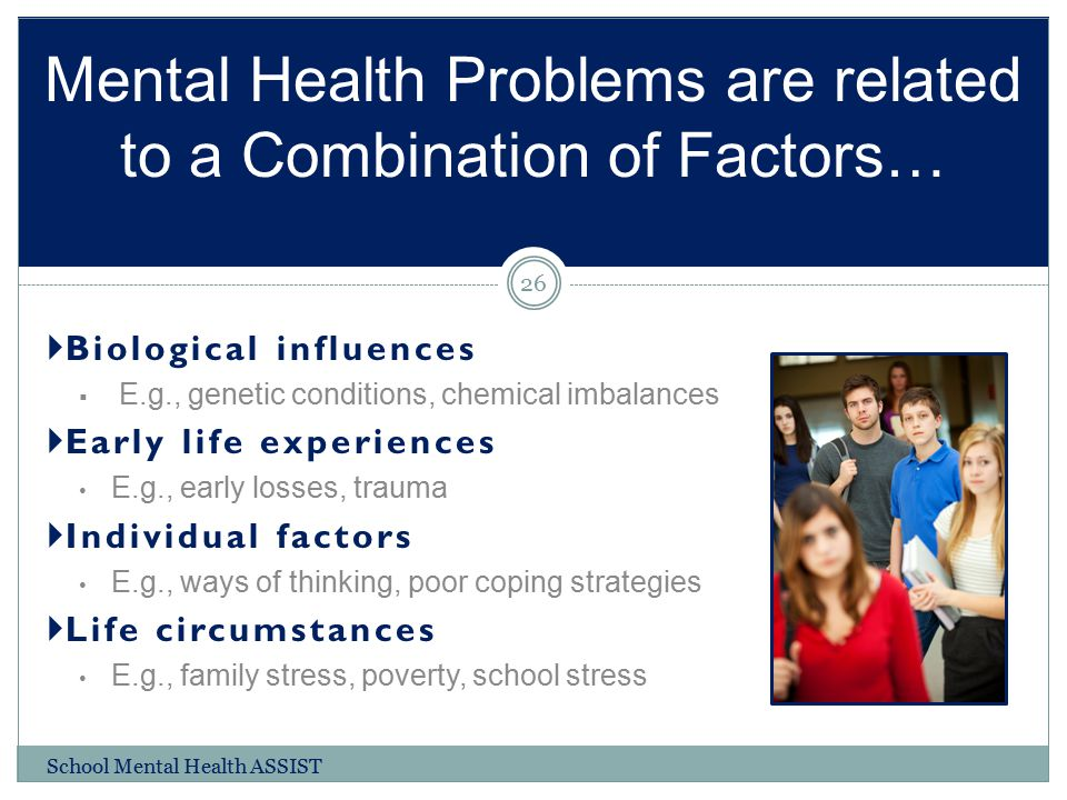 Mental Health Problems are related to a Combination of Factors…