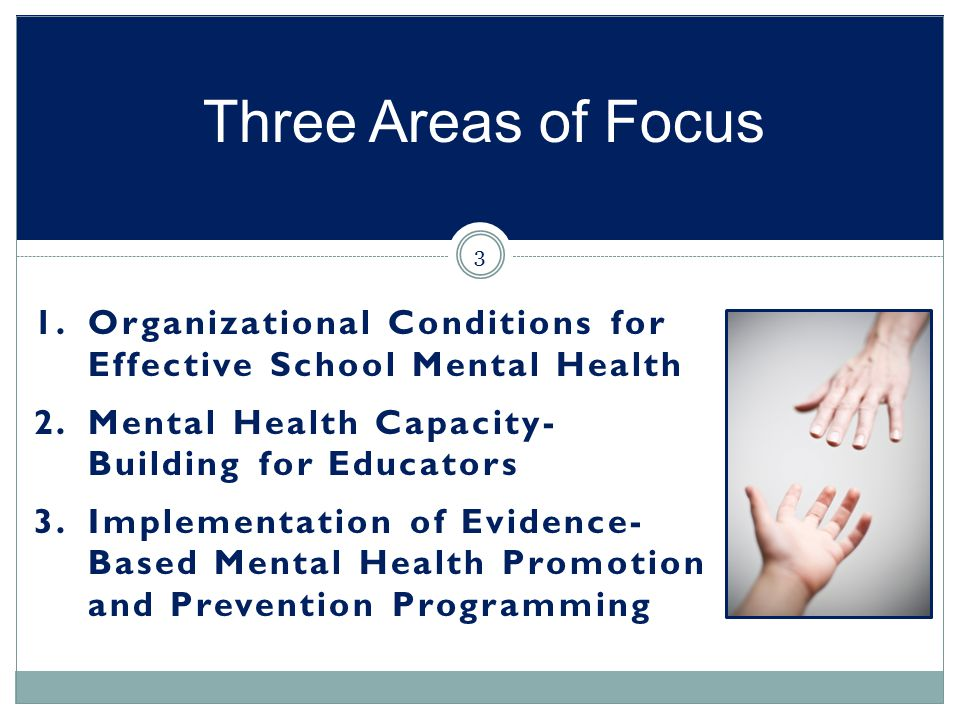 Three Areas of Focus Organizational Conditions for Effective School Mental Health. Mental Health Capacity- Building for Educators.