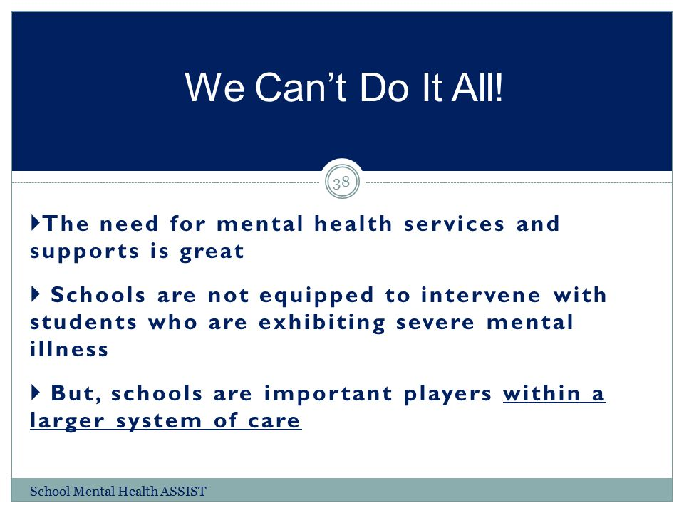 We Can't Do It All! The need for mental health services and supports is great.