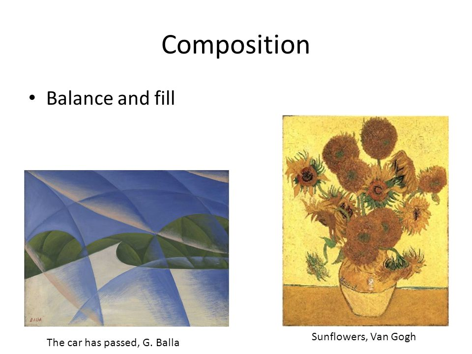Composition Balance and fill Sunflowers, Van Gogh