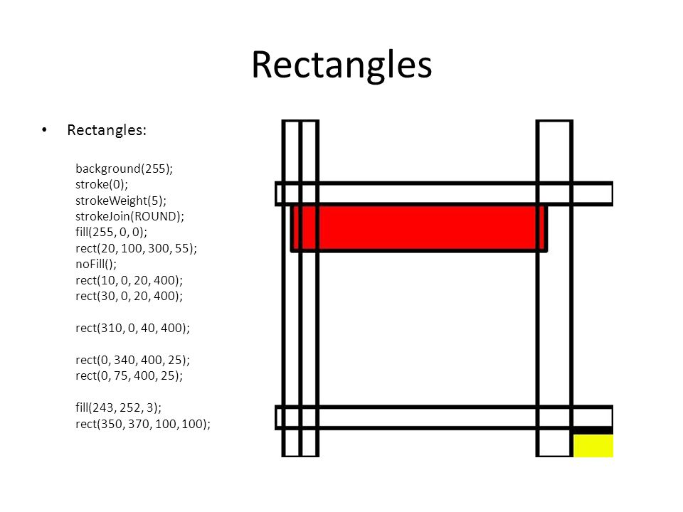 Rectangles Rectangles: background(255); stroke(0); strokeWeight(5);