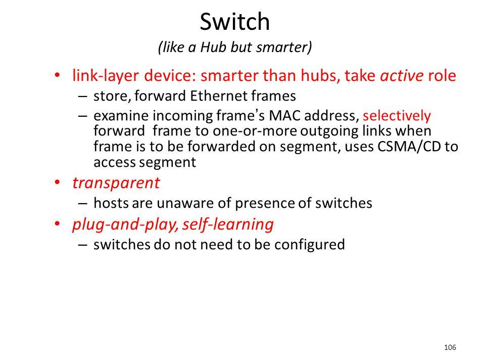 Switch (like a Hub but smarter)