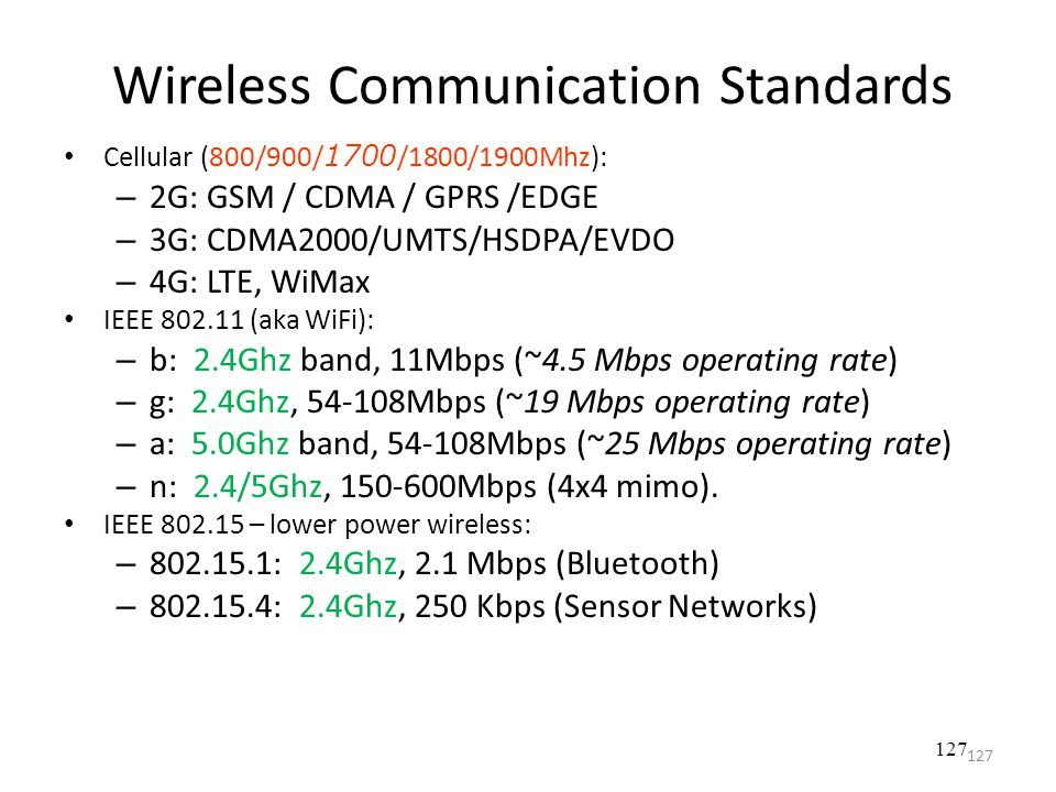 Wireless Communication Standards