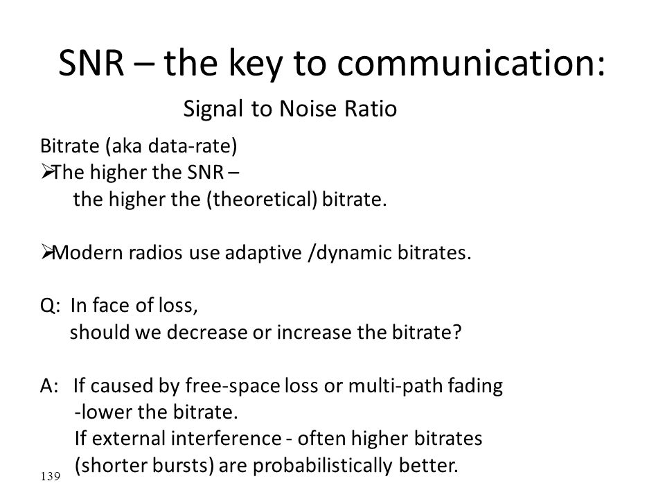 SNR – the key to communication: