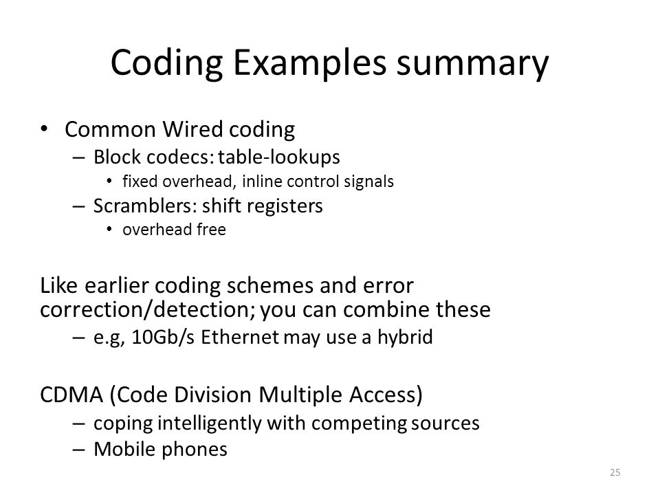 Coding Examples summary
