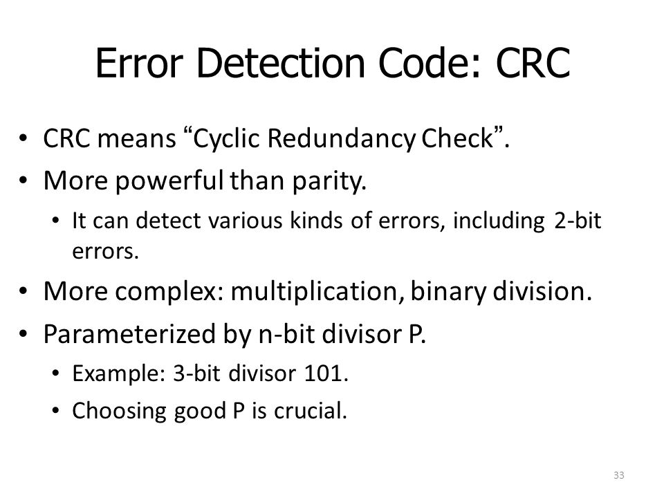 Error Detection Code: CRC