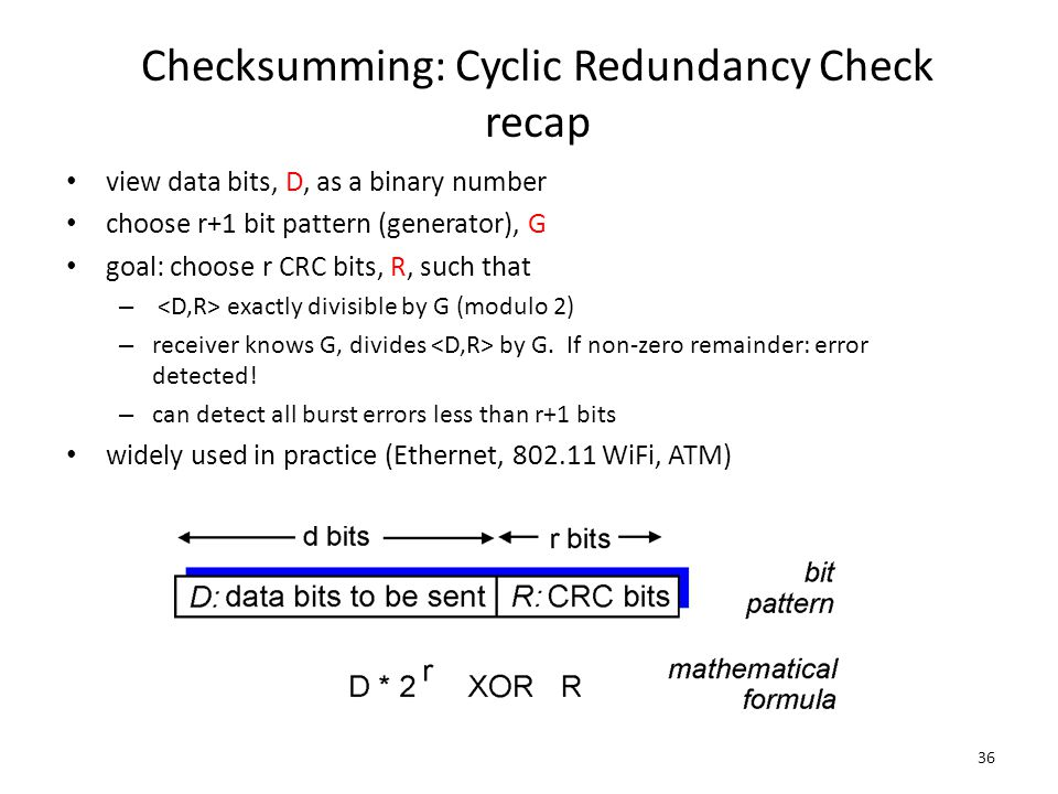 Checksumming: Cyclic Redundancy Check recap