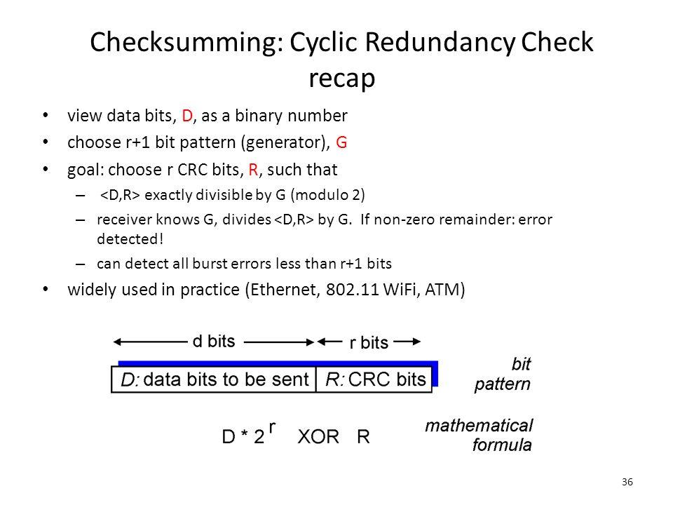 Checksumming: Cyclic Redundancy Check recap