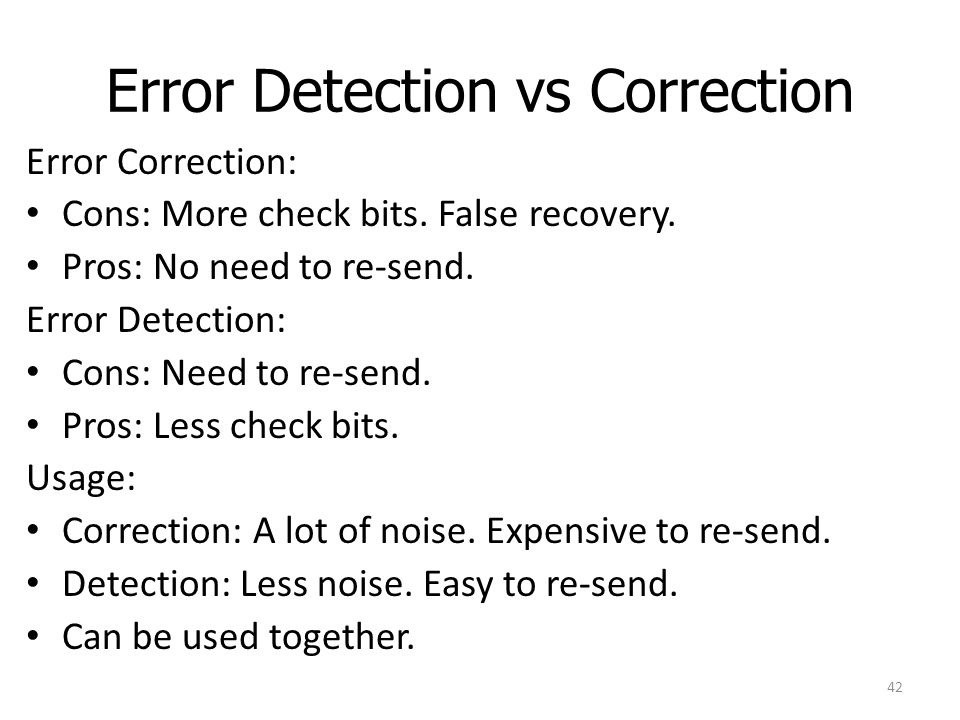 Error Detection vs Correction
