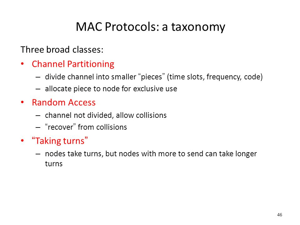 MAC Protocols: a taxonomy